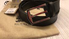 New Burberry Men Belt Nova Check Plaid Navy Blue Black Leather 40 100 $455
