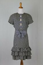 Vintage Louis Feraud Navy Blue & White Optic Polka-dot 100% Silk Party Dress 10