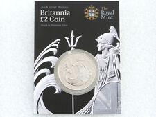2008 Royal Mint Britania Barra Dos Libras De Plata 1oz Moneda casa Cartón
