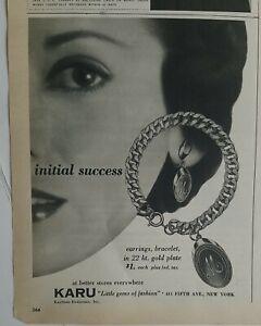 1952 women's Karu monogrammed initial charm bracelet earrings vintage jewelry ad