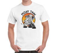 Muay Thai Elephant Martial Art MMA Sport Printed Cotton Men's T-shirt Top Tee