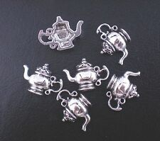 5 Tibetan Silver Teapot  Pendant Charms Alice In Wonderland