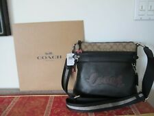 New Authentic Coach Women's Black Brown Vale File Crossbody Bag F76646 USA