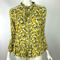 Anthropologie Maeve Rabbit Blouse Top Bunny Long Sleeve Lace Trim Yellow Women 0