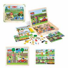 Magnetspiel Holz Kinder Magnetspielzeug Magnetpuzzle Legespiel in großer Box
