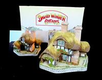 "DAVID WINTER MOONLIGHT HAVEN JOHN HINE DECORATED 5 5/8"" COTTAGE & ORIG BOX 1991"