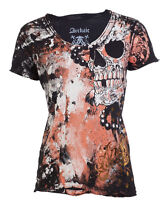 ARCHAIC by AFFLICTION Womens T-Shirt HYDRATE Skulls BLACK CORAL Biker Sinful $40