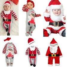 Christmas Newborn Baby Santa Romper Hat Outfits Xmas Boys Girls Jumpsuit Costume