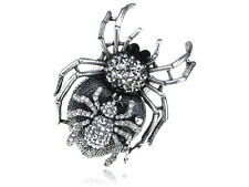 Adjustable Silver Tone Clear Rhinestones Halloween Mother Baby Spider Ring