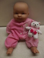 "BERENGUER BABIES 14""/15"" SOFT BODY HAPPY BABY DOLL W/PET BEAR & PINK SLEEPER"