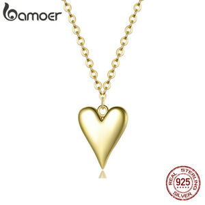 BAMOER Women Gold Plated Heart Charm Necklace S925 Sterling Silver Jewelry