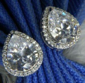 """Vintage White Quartz 1/2"""" Teardrop 0.925 Sterling Silver Post Pierced Earrings"""