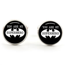 YOU ARE MY SUPERHERO BAT CUFFLINKS SILVER PLATED+1ST CLASS POST & FREE GIFT BOX