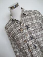 Flanell Hemd Trachtenhemd L langarm Karo  beige grau natur Stickerei Edelweiß /N