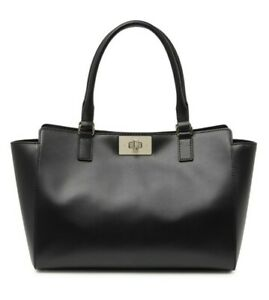 Kate Spade Kelsey Orchard Valley Smooth Black Leather Tote Shoulder Bag WKRU6077
