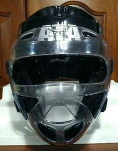 ATA Macho Taekwondo Youth Medium Black Helmet w/ Face Shield - Martial Arts