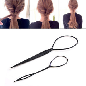 2pc Black Topsy Tail Hair Braid Ponytail Maker Styling Tools Hair Accessories