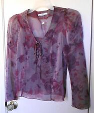 Mine. Mixed colors long sleeve semi-sheer pullover top size S