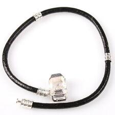 1x 150699 New Charms Black Love Leather Bracelet Fit European Beads 19cm