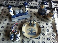Dutch Delft Blue Porcelain Hand painted Clogs-Pepper&Salt-Saucer-Cheese Carriers