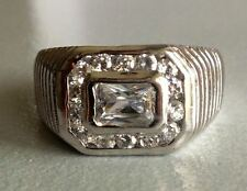 Cubic Zirconia 925 Sterling Silver Men's pinky pinkie ring Size 9.5