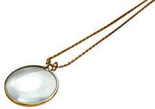 "25pc 5X Necklace Magnifier 1-3/4"" Glass Lens 36"" Gold Chain MONOCLE SPECTACLE"