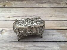 Vintage Delli Inc Ornate Silverplate Footed Floral Hinged Trinket Box