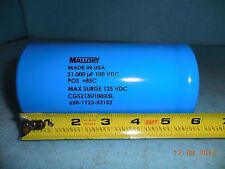Mallory CGS Series 21000uF 100V Large Can screw terminal Capacitor CGS213U100X5L