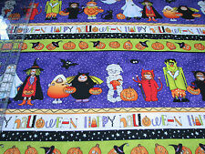 2.4 Yards Quilt Cotton Fabric - Northcott Happy Halloween Character Stripe Ppl