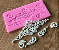 Silicone Embossing Mold Gum Paste Fondant Cake Lace Border Icing Decorate Mat Q