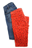 Current/Elliott Womens Skinny Jeans Blue Orange Cotton Floral Size 25 Lot 2