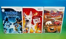 Bolt, Cars Mater-National Champ, Tron Battle Grids - Nintendo Wii 3 Games Disney