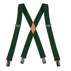 "Buyless Fashion Suspenders Men - 48"" Adjustable 1 1/4"" X Back Black Clips"