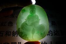 Fine Natural Type A Emerald Jadeite Jade Lotus Kwan-yin Pendant