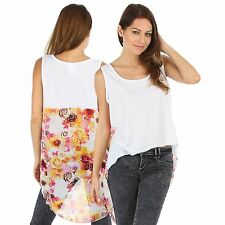 New Floral Singlet Style Top Wt Printed Back Plus Size 14 1XL (9452)HX