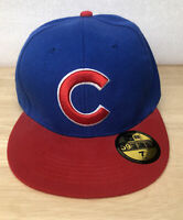 Vintage New Era 59Fifty MLB Chicago Cubs Fitted Hat Cap 7 Red Bill Embroidered