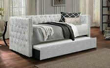 Lucia Chesterfield Day Bed Trundle in Crushed Velvet and Fabric Single Silver