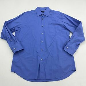 Hugo Boss Dress Shirt Mens 16 Blue Long Sleeve Classic Fit Two Ply Cotton Career