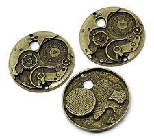 5PCs Charm Pendants Round Mechanical Gear Clock Bronze Tone 38mm Dia
