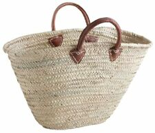 Large French basket with leather strap