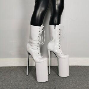 35-47 Women Round Toe Platform Lace Up 30cm High Stiletto Nightclub Ankle Boots