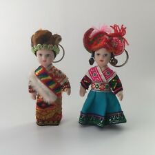Pair Chinese Mongolian Porcelain Jointed Dolls in Ethnic Costume Key Chain