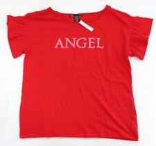 "Victoria's Secret Ruffle Short Sleeve Sparkle ""ANGEL"" Graphic Sleep Tee S Red"