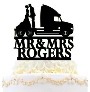 Personalized Trucker Car Driver Wedding Cake Topper Mr And Mrs Bride Groom Gift