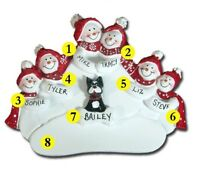 Personalized Snowman Family of 6 with a Dog or Cat Christmas Ornament