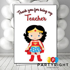 Personalised Thank You Teacher School Leaving New Tearm Wonder Woman Card