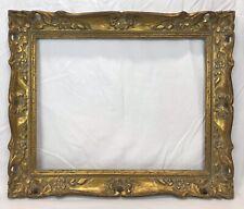 Vintage Baroque Barbizon Dutch Carved Wood Gold Frame 16 1/4 x 20 3/4 Opening