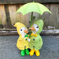 Resin Duck Ornament Couple Pair With Brolly Decorative Statue Figurine Sculpture