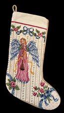 """Needlepoint Christmas Stocking Angel Velvet Wool 17"""" Imperial Elegance Tapestry"""