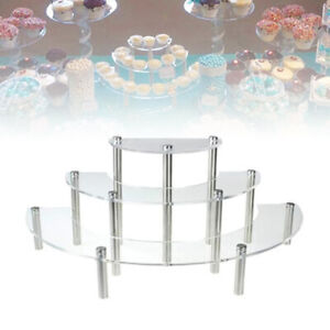 3 Tier Cake Stand Acrylic Wedding Birthday Display Dessert Round Cupcake Tower